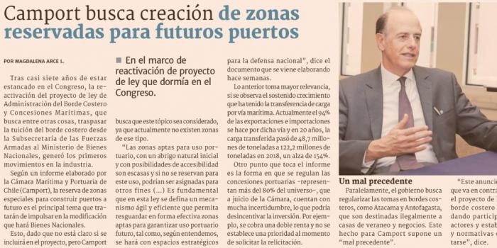 Camport busca creación de zonas reservadas para futuros puertos